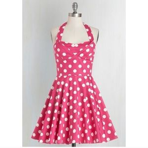 ModCloth Ixia Traveling Cupcake Polka Dot Dress